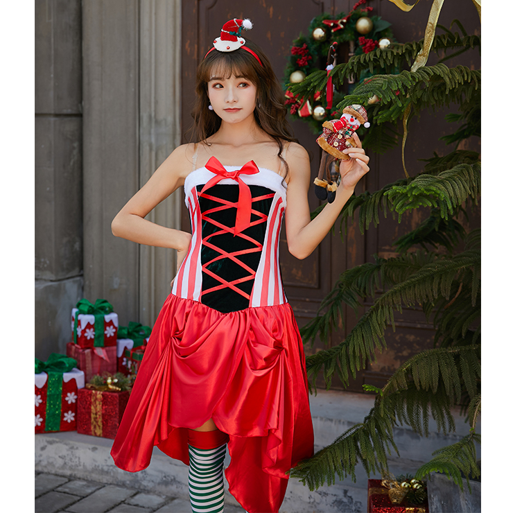 Furry Christmas Mini Dress, Sexy Christmas Costume, Red Candy Cane Christmas Costume, Christmas Costume for Women, Cute Christmas Skirt, Miss Santa