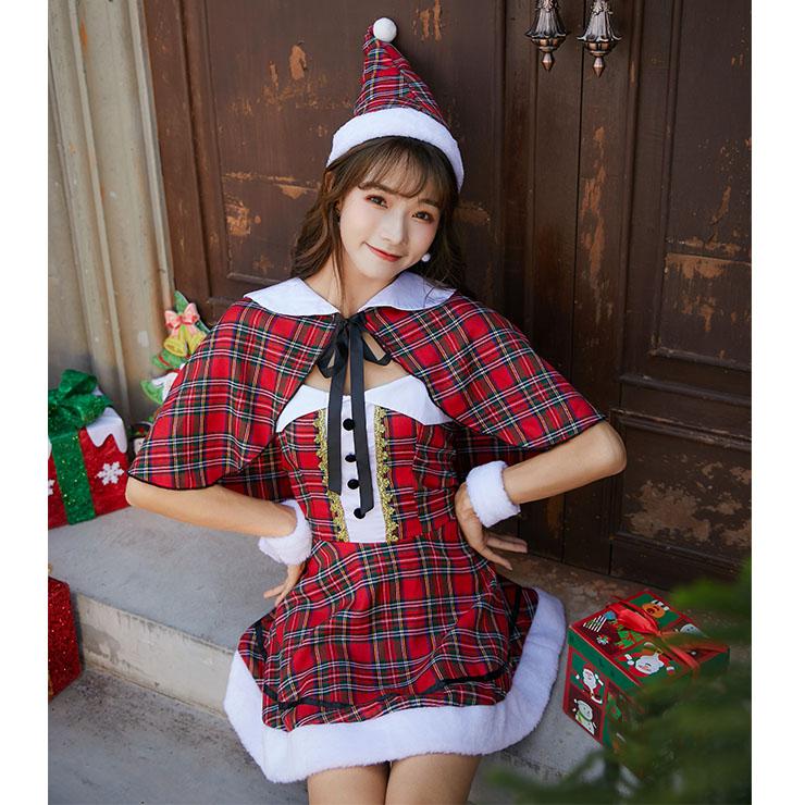 Furry Christmas Mini Dress, Sexy Christmas Costume, Red Checkered Christmas Costume, Christmas Costume for Women, Cute Christmas Skirt, Miss Santa