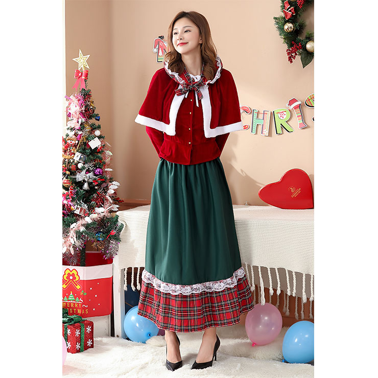 Velvet Long Sleeve Christmas Suit, Sexy Christmas Costume, Red Checkered Christmas Costume, Christmas Costume for Women, Cute Christmas Skirt, Miss Santa