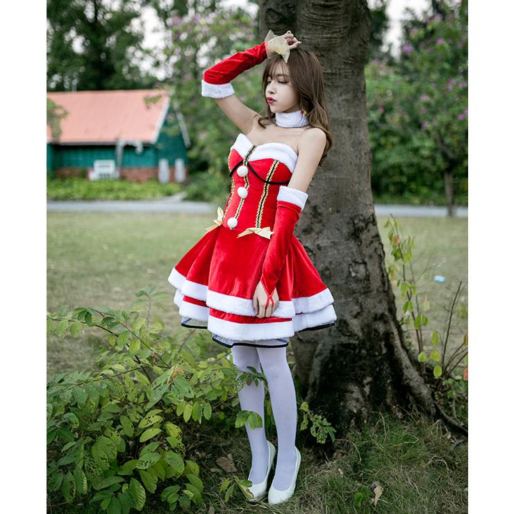 30c0cbf6eb4 4pcs Women s Sexy Santa Girl Strapless High Waist Mini Dress Christmas  Costume XT18563