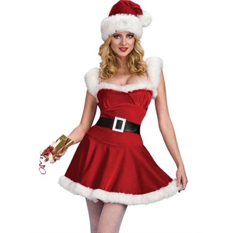 Women's Santa Girl Red Velvet Furry Mini Dress Jingle Lady Christmas Costume XT19770