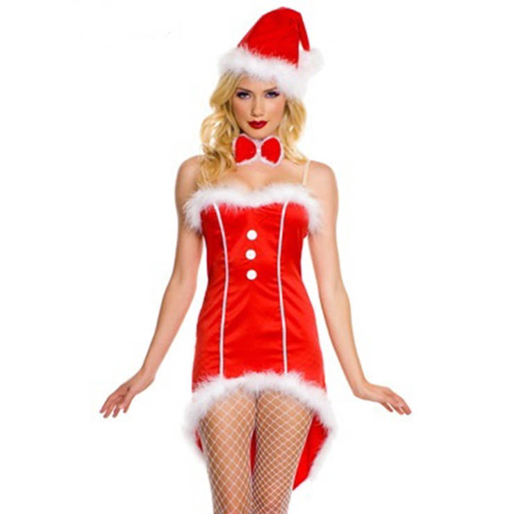 Women's Sexy Santa Girl Red Strapless High-low Mini Dress Christmas Costume XT18376