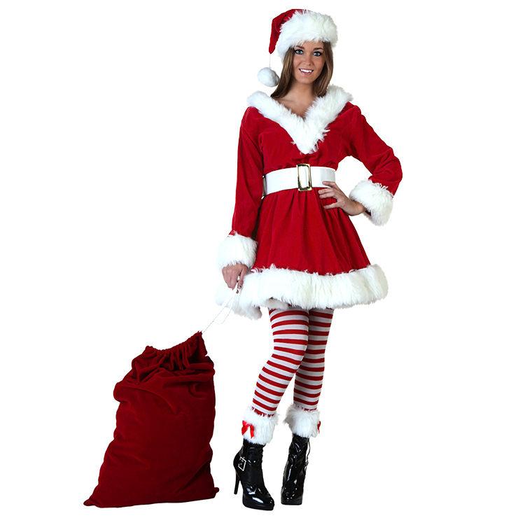 4PCS Women's Sexy Red Velvet Santa Girl Mini Dress Christmas Costume Set XT18350