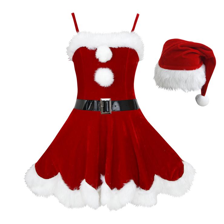 Sexy Christmas Costume, Red Velet Christmas Costume, Christmas Costume for Women, Cute Christmas Dress, Santa Girl Christmas Costume, Santa Girl Christmas Costume Set, Red Velvet Santa Girl Costume Set, #XT18362