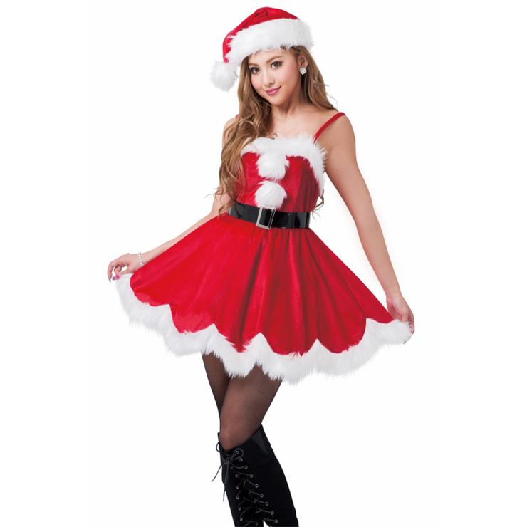 3PCS Women Sexy Sling Red Velvet White Fluff Balls Santa Girl Mini Dress Christmas Costume Set XT18362