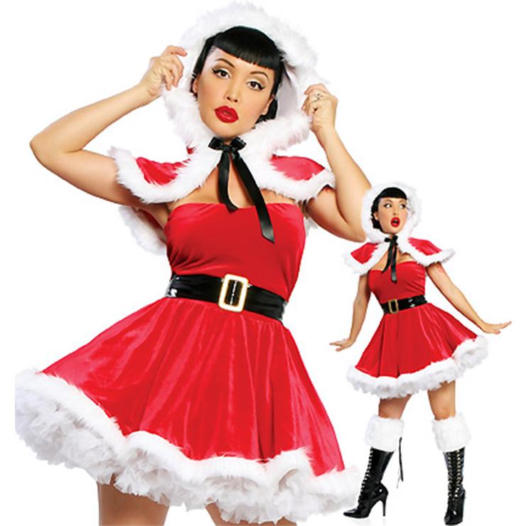 Women's Sexy Santa Girls Red Velvet Strapless Mini Dress with Cloak Christmas Costume XT18372