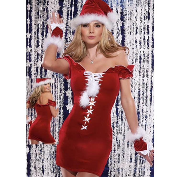 Women's Sexy Santa Girl Red Off-shoulder Ruffles Mini Dress Christmas Costume XT18374