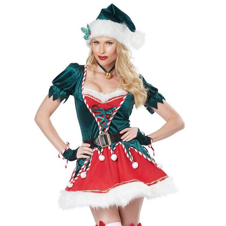 Women's Santa's Helper Adult Elf Christmas Costume XT15113