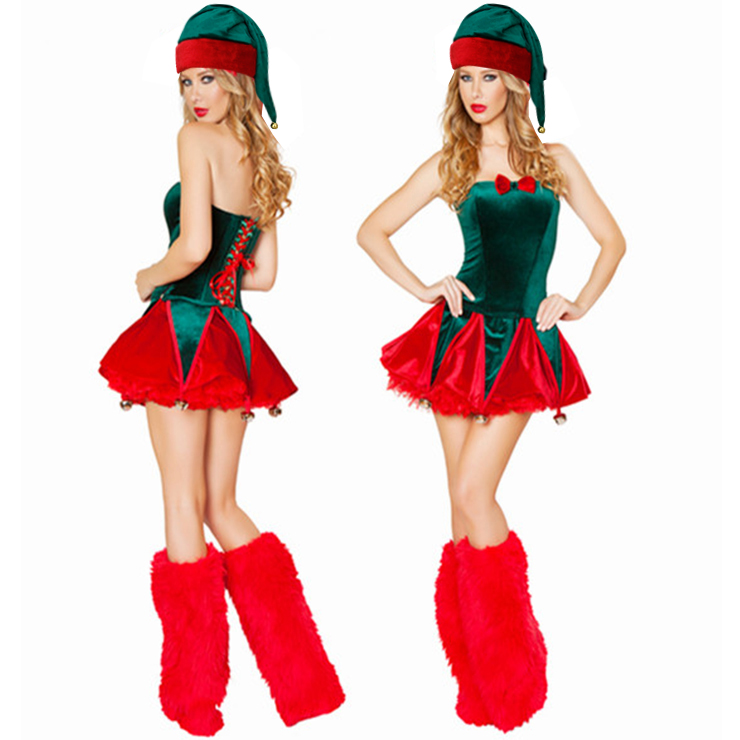 Sexy Santa Girls Red Green Overbust Sleevelees Lace-up Christmas Costume with Legs Set XT18370