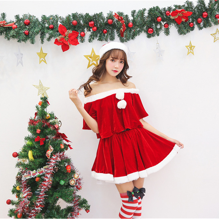 Women's Sexy Santa's Velet Skirt Sets Christmas Costume XT15270