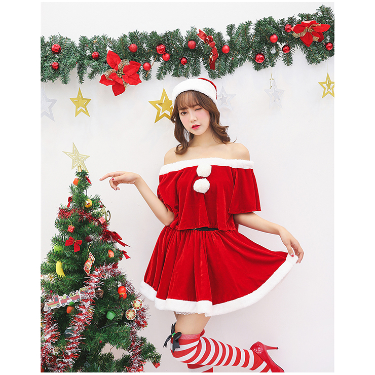 Off Shoulder Christmas Costume, Red Velet Christmas Costume, Christmas Costume for Women, Cute Christmas Skirt, Miss Santa