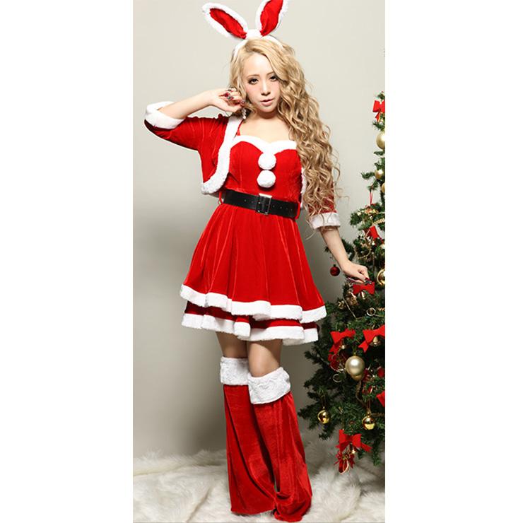 Women's Sexy Santa Girls Red Velvet Sleeveless Mini Dress with Jacket Christmas Costume Set XT18366