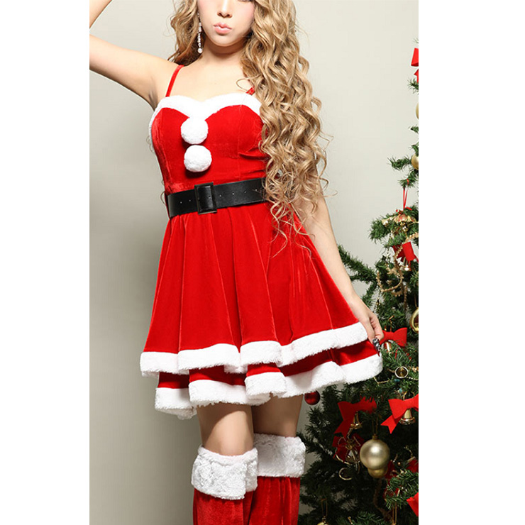 b1e06797600 Women s Sexy Santa Girls Red Velvet Sleeveless Mini Dress with Jacket Christmas  Costume Set XT18366
