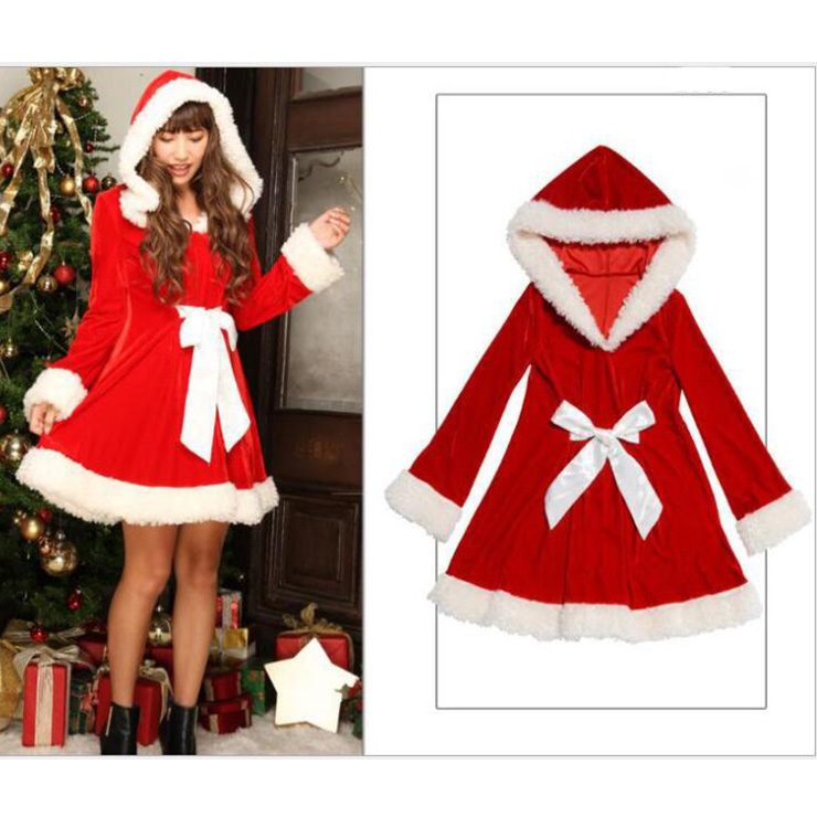 Women's Cute Santa Girl Velvet Long Sleeves Mini Dress Furry Christmas Costume With Hat XT18364