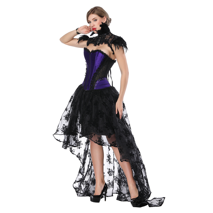 Fashion Body Shaper Sets, Womens Corset Skirt Set, Classical Gothic Black Skirt Sets, Gothic Corset and Pettiskirt Set, Retro High Low Organza Skirt Sets, #N18208