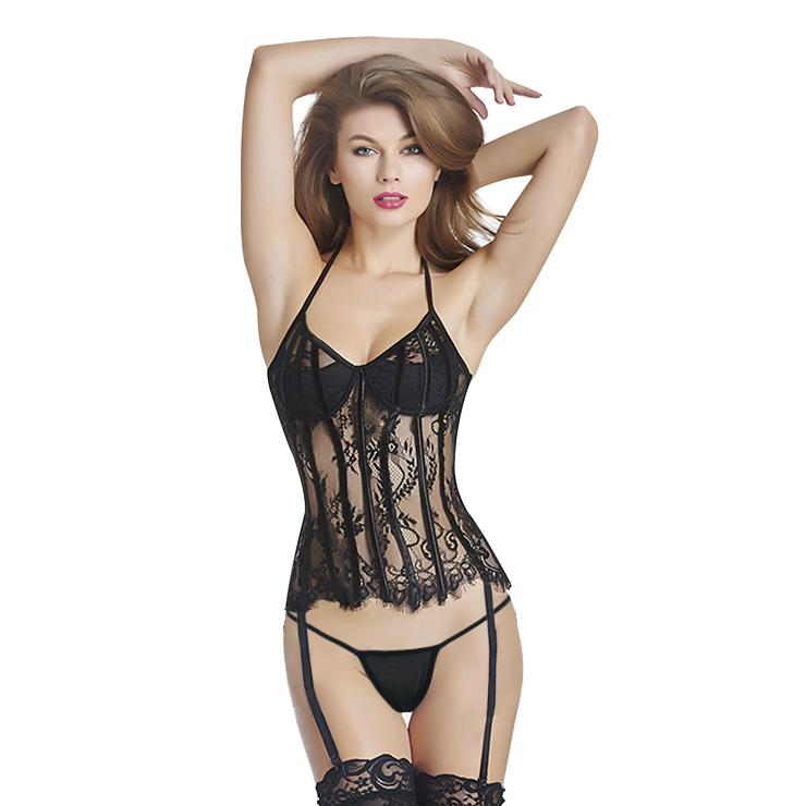 Sexy Seethrough Black Halter Overbust Corset Bustier N11373