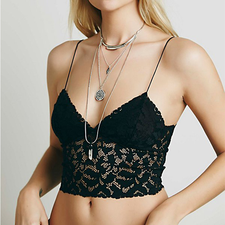 Sexy Sheer Floral Lace Low-cut Spaghetti Straps Lingerie Bra Crop Top N18911