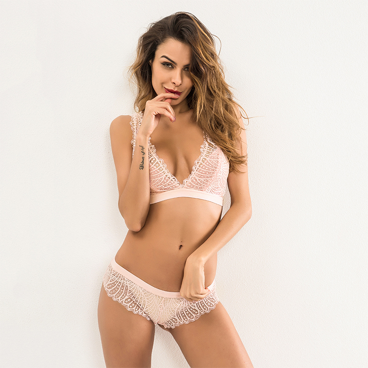 Charming Sheer Floral Lace Low-cut Spaghetti Straps Bra and Panty Lingerie Set N18843