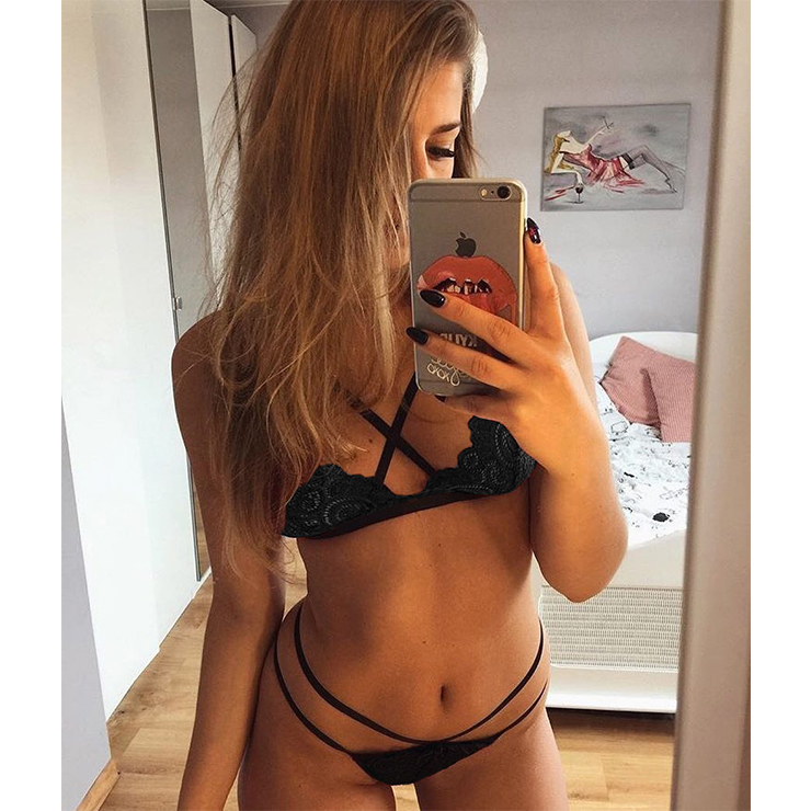 Sexy Floral Lace Strappy Cut-out Underwear Bikini Bra and Panty Lingerie Set N18937