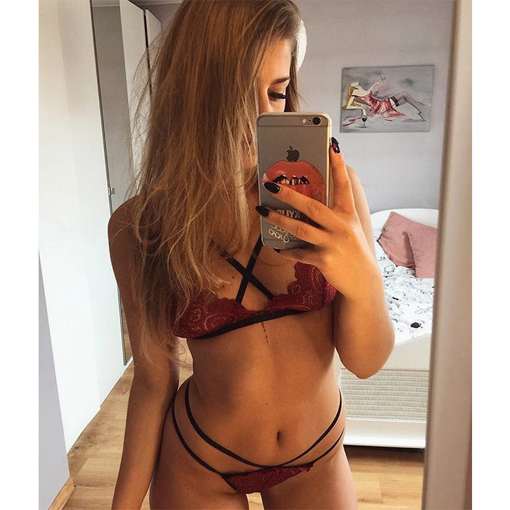 Sexy Floral Lace Strappy Cut-out Underwear Bikini Bra and Panty Lingerie Set N18938