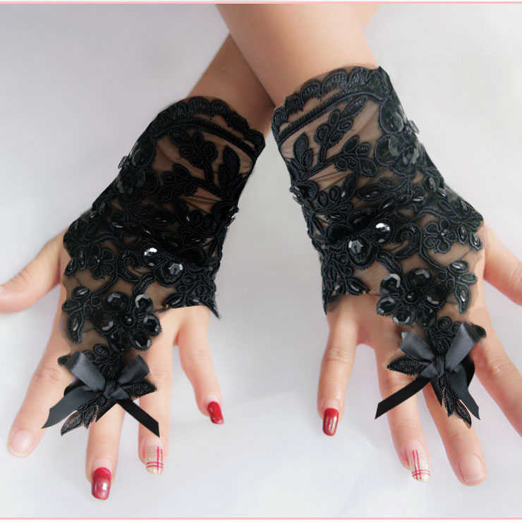 Gothic Sexy Sheer Floral Lace bow Fingerless Gloves Cosplay Accessory HG20217