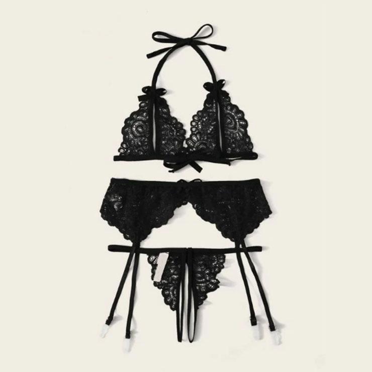 Sexy Lace Lingerie Set, Fashion Lace Bra Set, 3 Piece Halter Bikini Lingerie Sets,Bra Set Lingerie,Bra and Thong Set,Lace Halter Bra Set, Sheer Floral Lace Lingerie Set, Bowknot Bikini Lingerie, #N20712