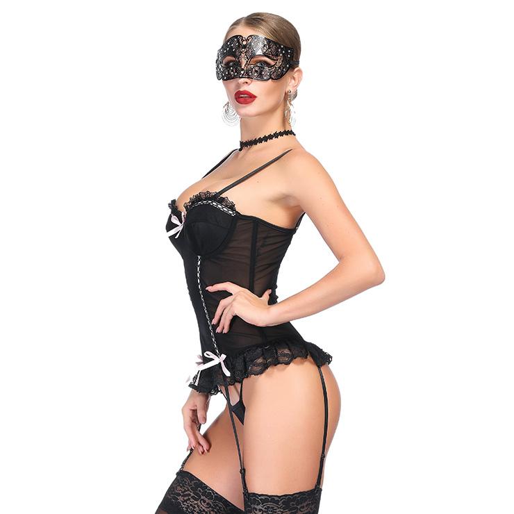 Sexy Black Floral Lace Bustier Corset, Fashion Body Shaper Corset, Spaghetti Strap Low-cut Bustier Corset, Women