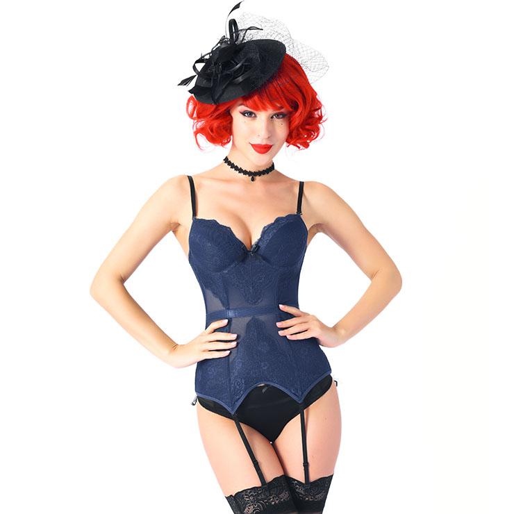 Charming Navy-blue Mesh and Floral Lace Spaghetti Straps Stretchy Chemise Bustier Corset N20542