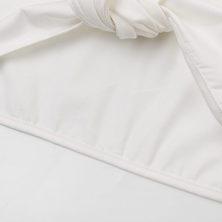 Fashion Crop Top for Women, Short Sleeve Deep V Neck Crop Top, White Lace-up Crop Top, Women
