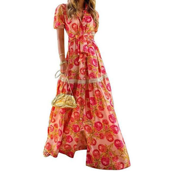 Sexy Bohemia Floral Print Short Sleeve Lapel High Waist Lacing Maxi Dress N21009