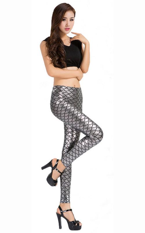 Sexy Leggings, Fashion Low Waist Legging Pants, Cheap Fish Scale Pattern Leggings, Ladies Silver Leggings, #L10266