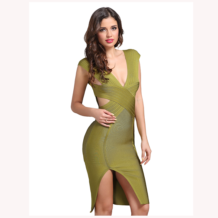 Women s Sexy Sleeveless Deep V Neck Cut-out Backless Slit Bodycon Party  Dress N15222 3621d3af3