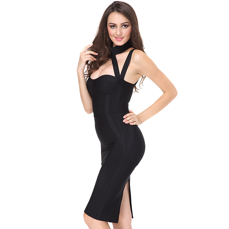 baacf1db58 Women s Sexy Sleeveless Low Cup Strappy Bodycon Bandage Party Dress ...