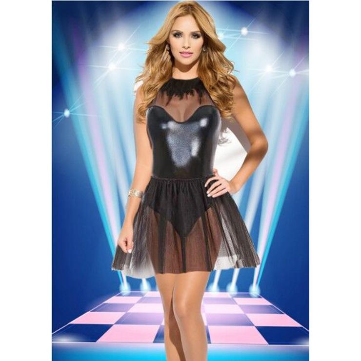 Sexy Black Sleeveless Mesh Mini Dress N14329
