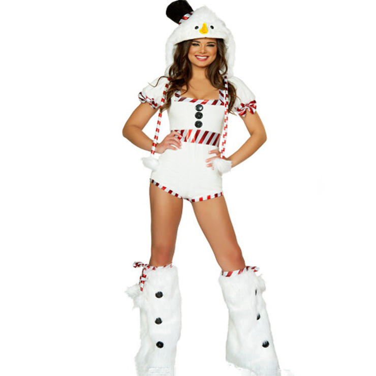 Sexy Girls White Snowmen Square Neckline Christmas Costume with Legs Set and Hat XT18371