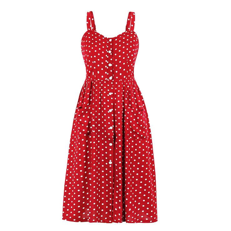 Fashion Polka Dots Print Spaghetti Straps Front Button Pocket High Waist Summer Slip Dress N21001