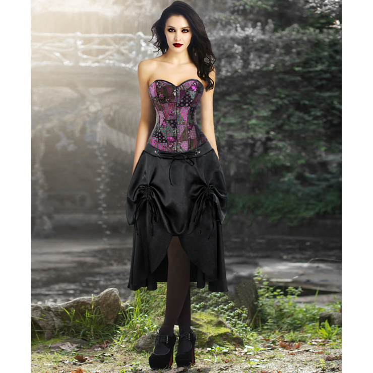 Sexy Steampunk Jacquard Steel Boned Overbust Corset Top and Vintage Satin Skirt Set N13044
