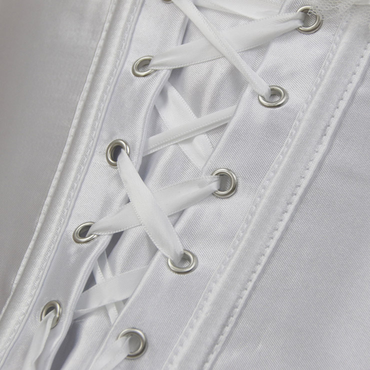 Sexy White Corset, Cheap Strapless Lace Trim Corset, Women