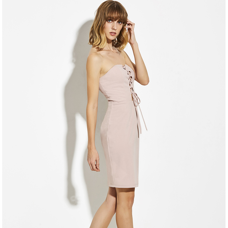 Mini Dresses, Casual Dresses For Women, Daily Dresses, Slim Fitting Bodycon Dresses, Strapless Pink Dress, Plain Dresses, #N14937