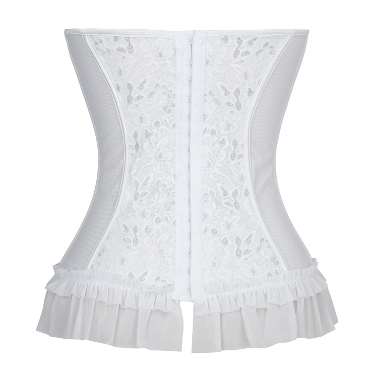 f23295bcb6 Sexy Strapless Plastic Bone White Jacquard Bride Bowknot and Ruffle  Overbust Corset N18653