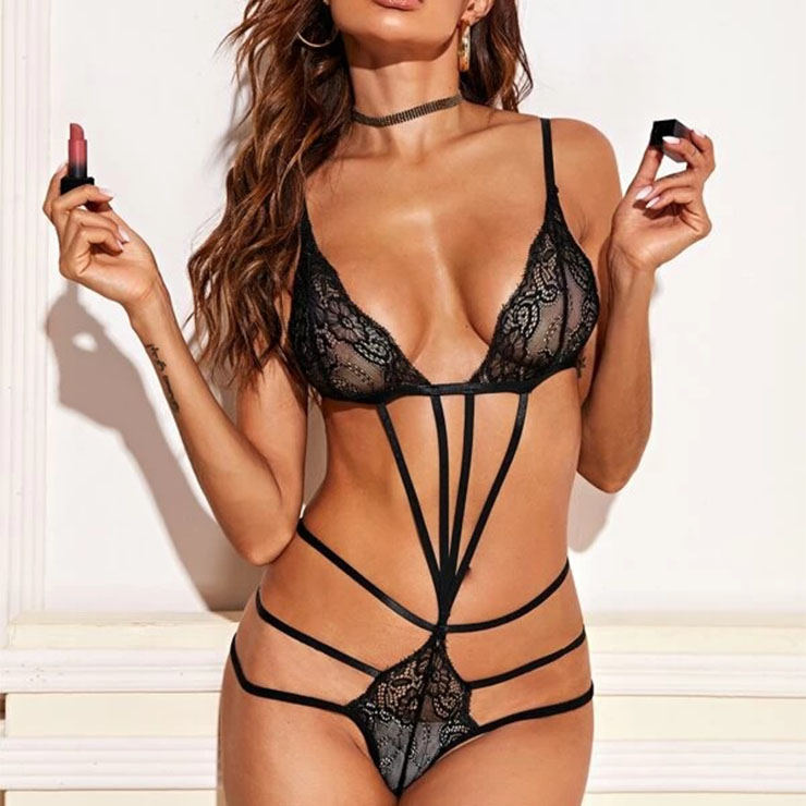 Sexy Sheer Floral Lace Spaghetti Straps Stretchy Bandage Bodysuit Teddies Lingerie N20844