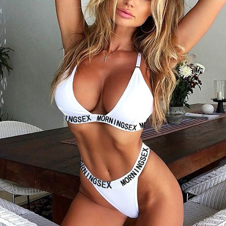 Sexy White Spaghetti Straps Low-cut Stretch Letters Underwear Two Pieces Lingerie Set N21325