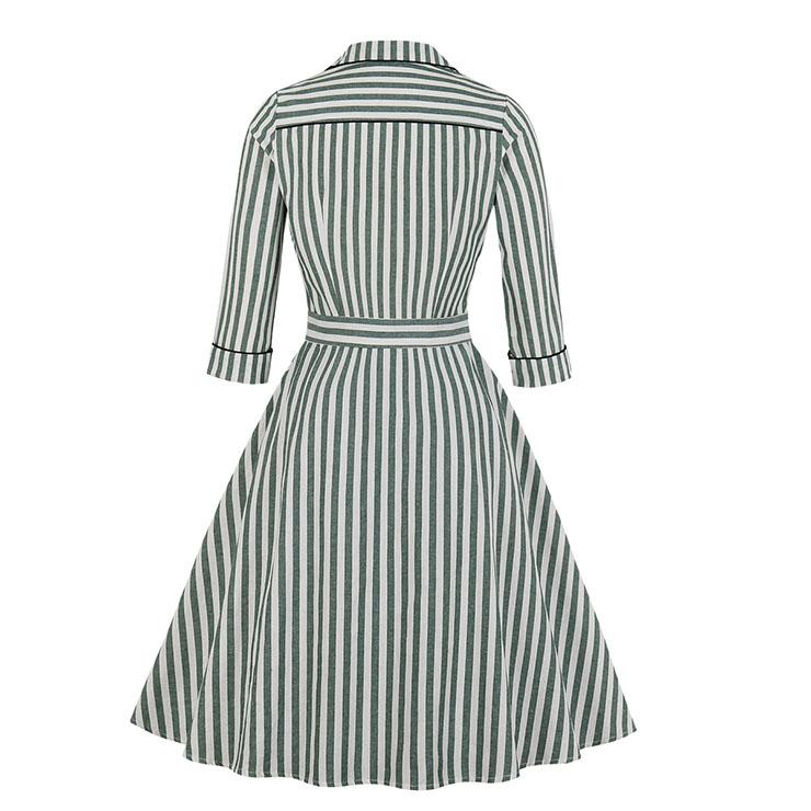 Sexy A-line Dress,Plus Size Spring Dress,Vintage Dresses for Women,High Waist Dresses for Women,Lapel Dress for Women, Daily Waist Belt Dress, #N19501