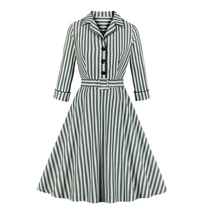 Retro Green and White Striped Lapel Long Sleeve High Waist Belt Midi Dress N19501