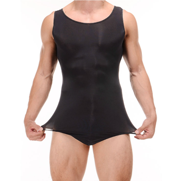 Men's Sexy Matte Ultra-thin Stretchy Vest Type Bodysuit One-piece Lingerie N20185