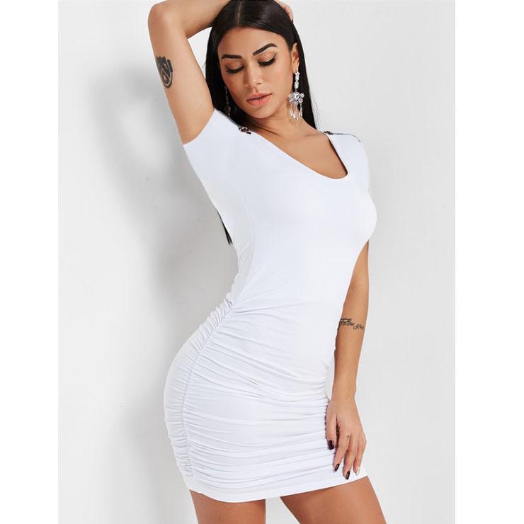 Sexy Low-cut Short Sleeves Zipper Tube Dress Clubwear Mini Bodycon Dress N19006