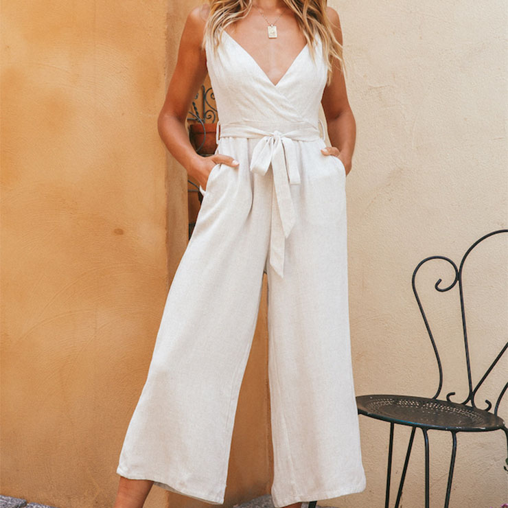 Sexy Women's White Spaghetti Straps Deep V Neck Backless Lace-up Jumpsuit N21094