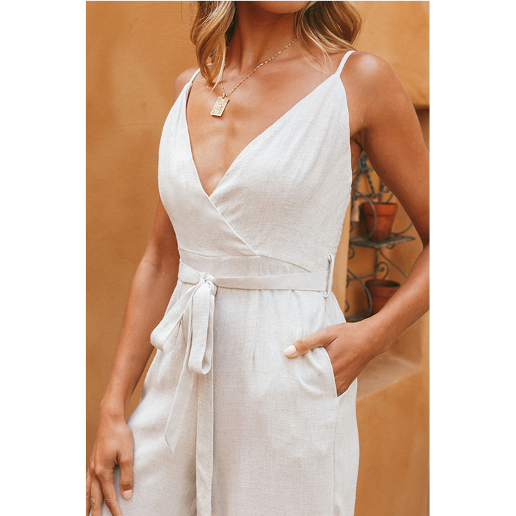 White V Neck Sexy Jumpsuit, Sexy Jumpsuit, White Jumper, Spaghetti Straps Deep V Neck Jumpsuit,Lace-up Loose Jumpsuit, Backless Lace-up Jumpsuit, #N21094