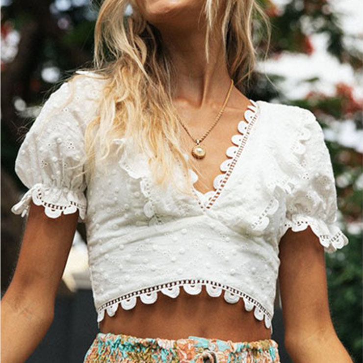 Sexy White Embroidery Lace V Neck Short Sleeve Back Cross Lace-up Crop Top N21171