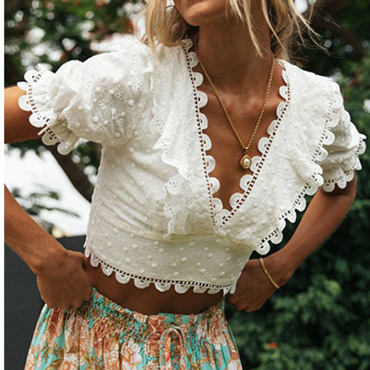 Sexy Lace V Neck Top, Women